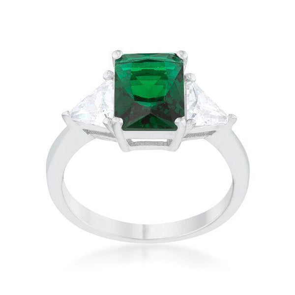Emerald CZ Sterling Silver Ring - FashionKila.com