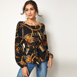 Chain Print Self Tie Blouse - FashionKila.com