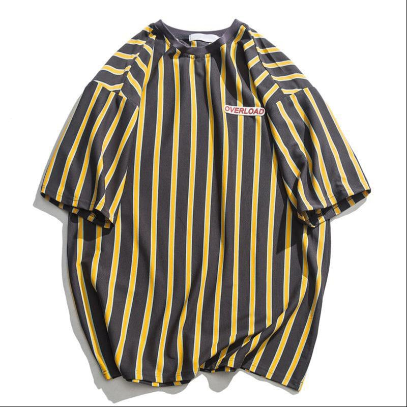 Dark icon vertical stripe oversized men's tshirts - FashionKila.com