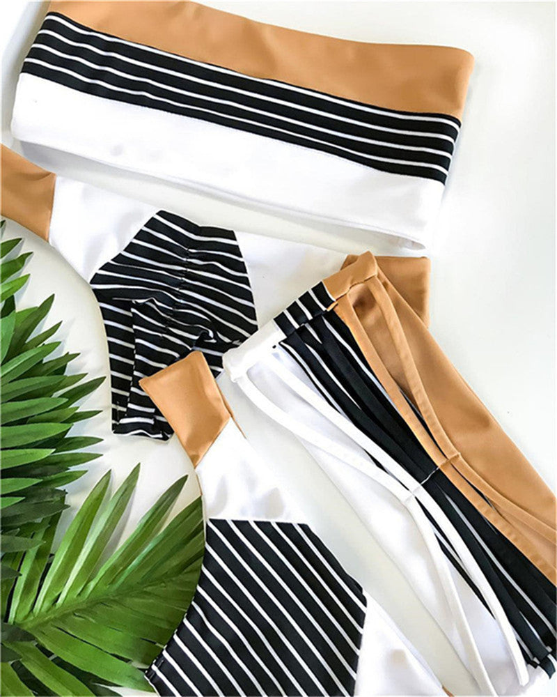 Bikini nylon stripe printing ladies' split triangle swimsuit - FashionKila.com