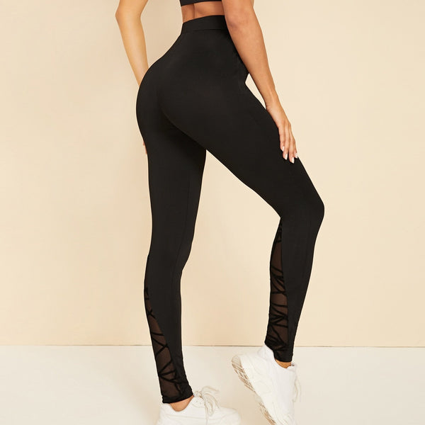 Solid Contrast Mesh High Waist Leggings - FashionKila.com