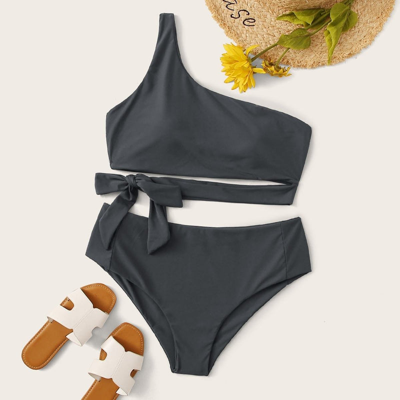 Plus Tie Waist One Shoulder Bikini Set - FashionKila.com