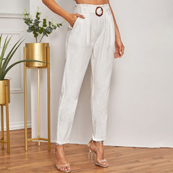 Vertical Striped Paperbag Waist Belted Pants - FashionKila.com