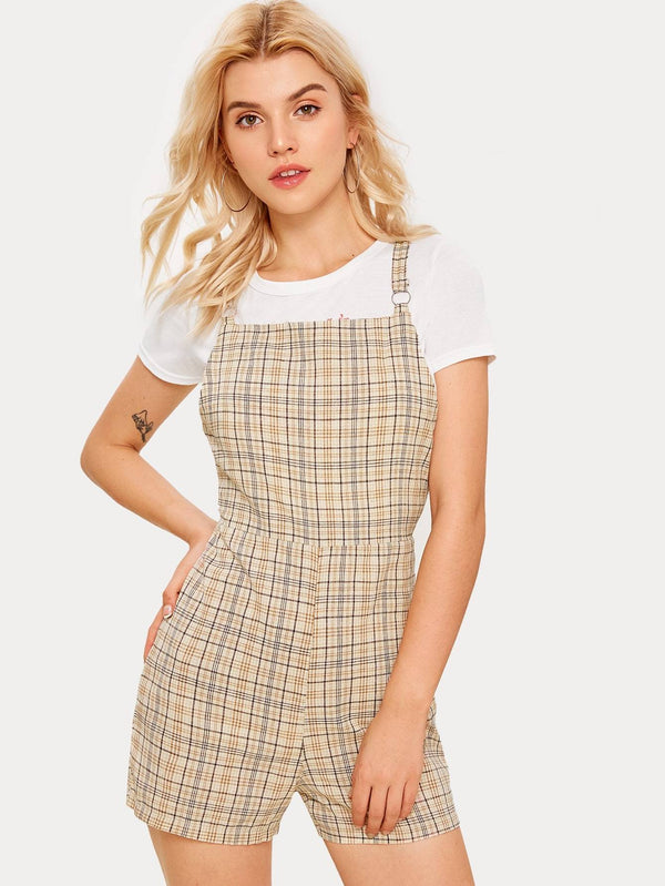 O-ring Back Plaid Print Pinafore Romper - FashionKila.com