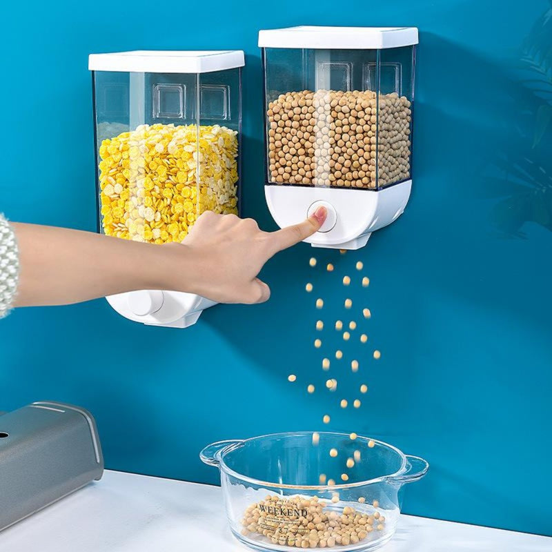 Kitchen Food Storage Easy Press Container Cereal Dispenser Wall Mounted Food Storage Box