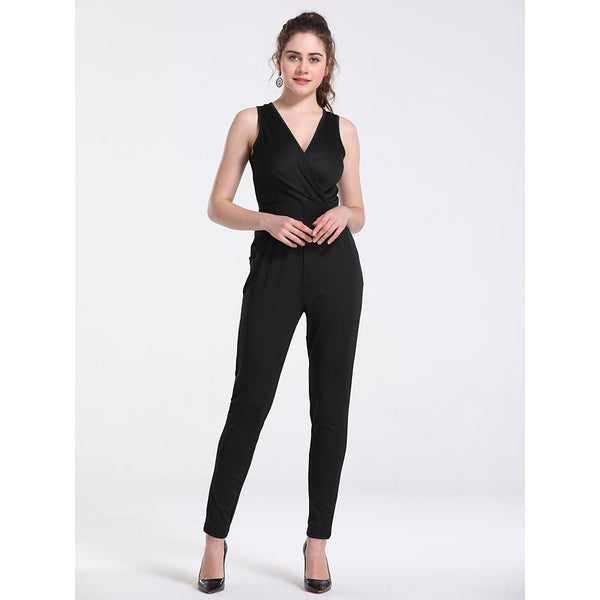Women's Basic Deep V Black Pencil Skinny Jumpsuit, Solid Colored M L XL - FashionKila.com