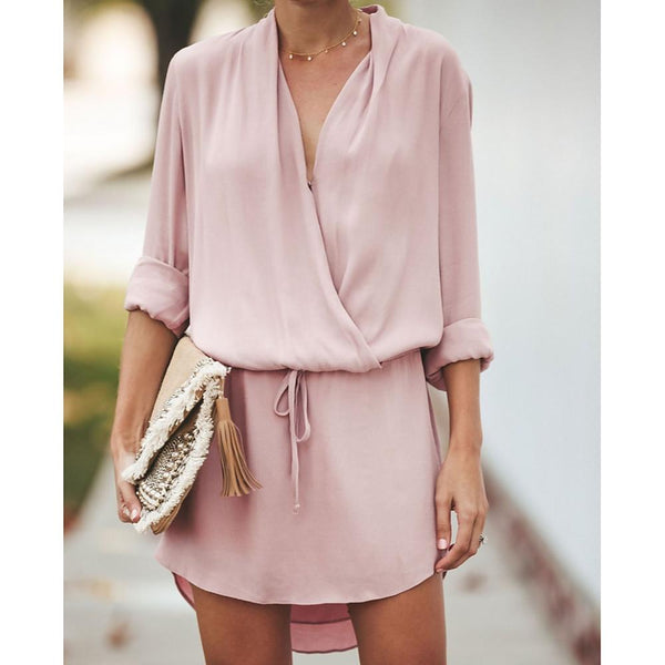 Women's Mini Shirt Dress Dusty Rose Deep V - FashionKila.com