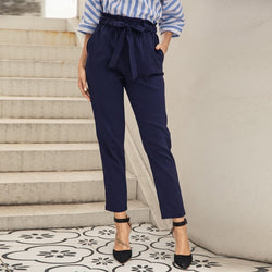 Pocket Side Paperbag Waist Belted Pants - FashionKila.com
