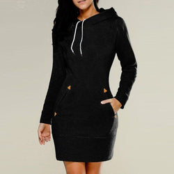 Solid Zippers Dress Cotton Above Knee