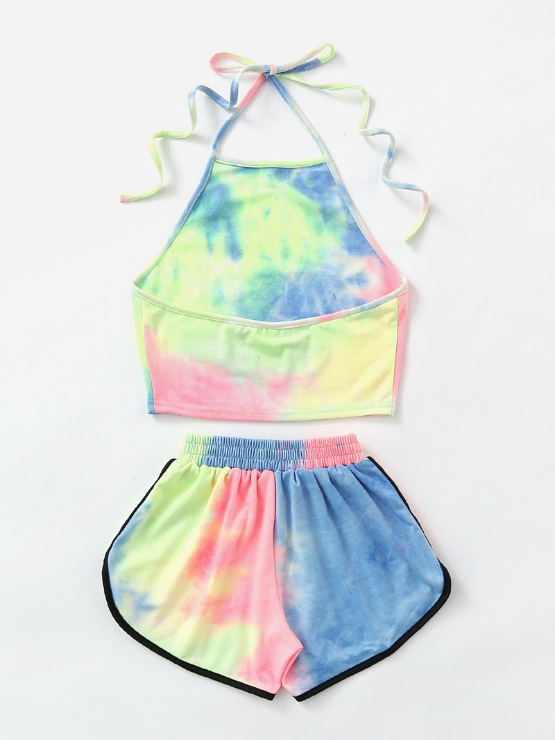 Tie-Dye Gradient Halter Crop Top and Shorts - FashionKila.com