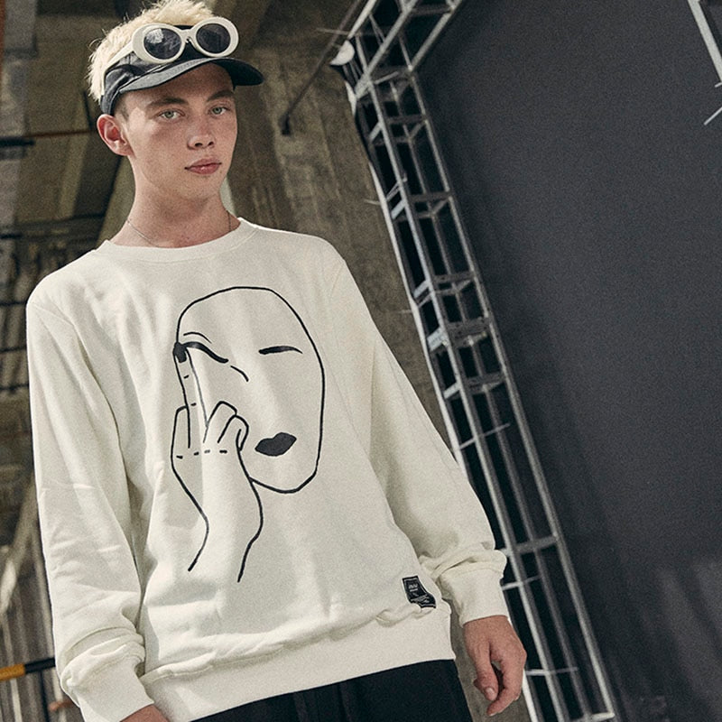 Print Middle Finger Sweatshirt - FashionKila.com