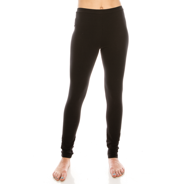 Urban Diction 2 Pack Full-Length Cotton Stretch Leggings (Black- Heather Gray) - FashionKila.com