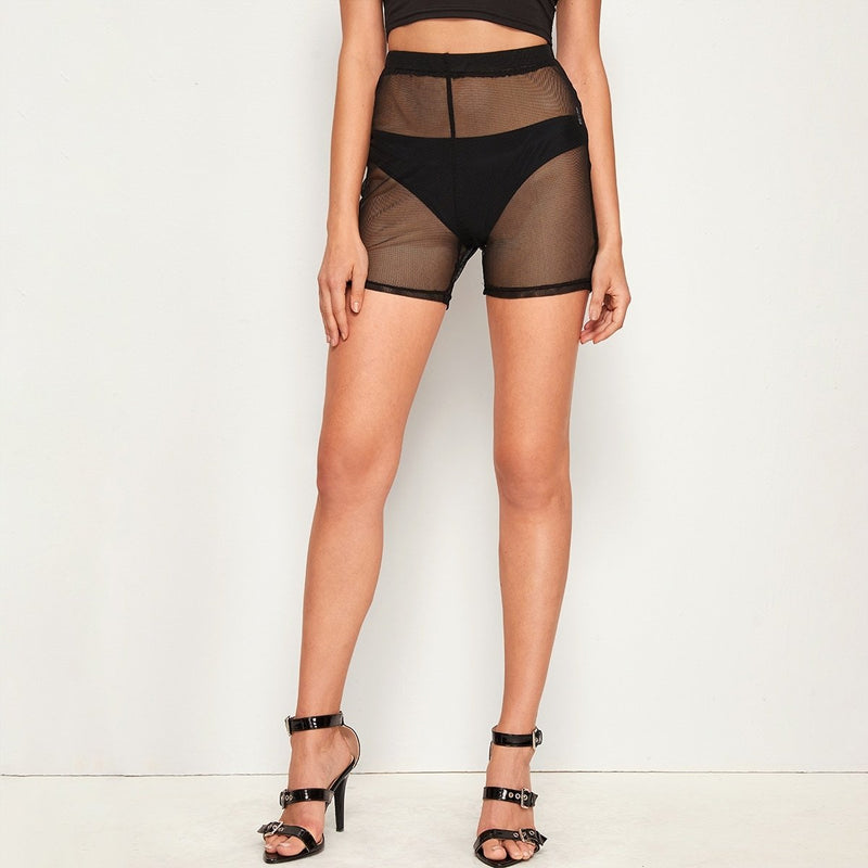 Elastic Waist Sheer Mesh Cycling Shorts - FashionKila.com