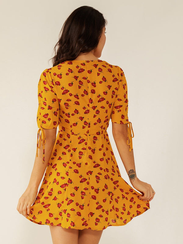 Double Crazy Ditsy Floral Knotted Cuff Dress - FashionKila.com