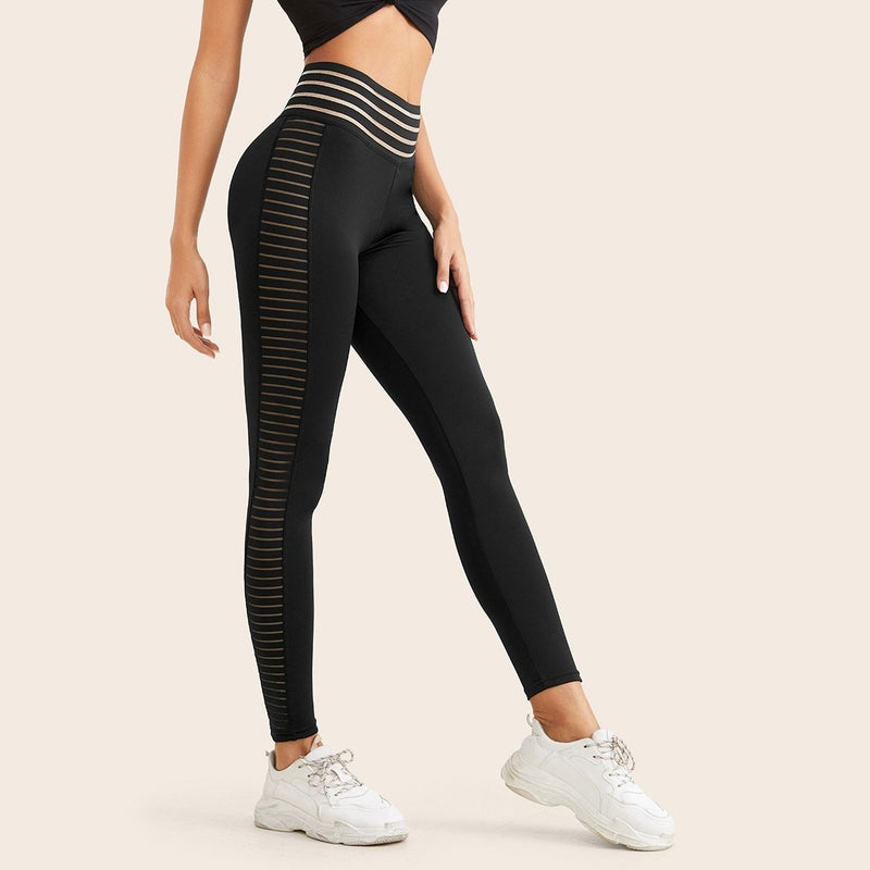 Mesh Panel Striped Wideband Waist Leggings - FashionKila.com