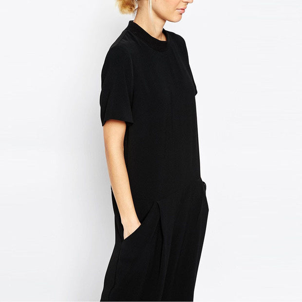 Summer black overalls jumpsuit-Shopvoypa