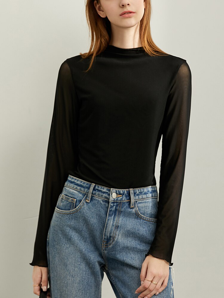 Thin long-sleeved semi-high collar T-shirt - FashionKila.com