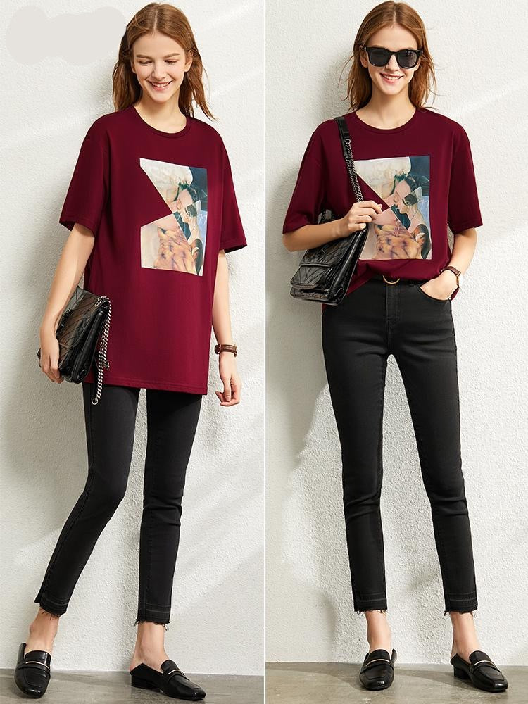 Round neck printed cotton short sleeve T-shirt - FashionKila.com