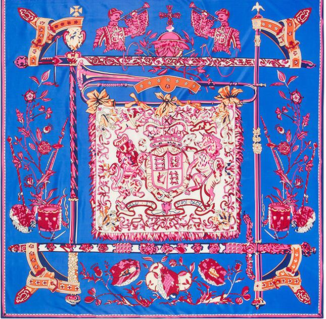 Royal Chant Silk Totem Square Scarf - FashionKila.com