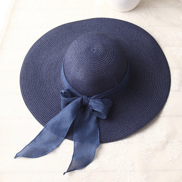 Bow-knot Wide Brim Beach Hat - FashionKila.com