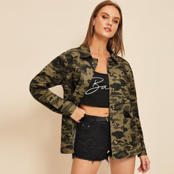 Camouflage Print Pocket Button Through Coat - FashionKila.com