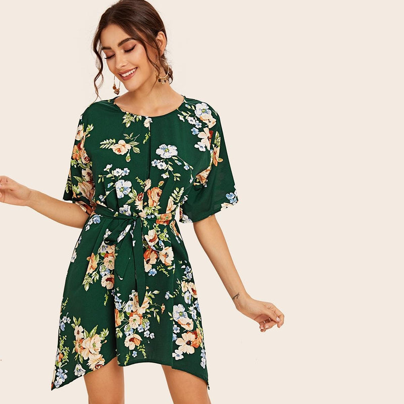 Floral Print Self Tie Dress - FashionKila.com