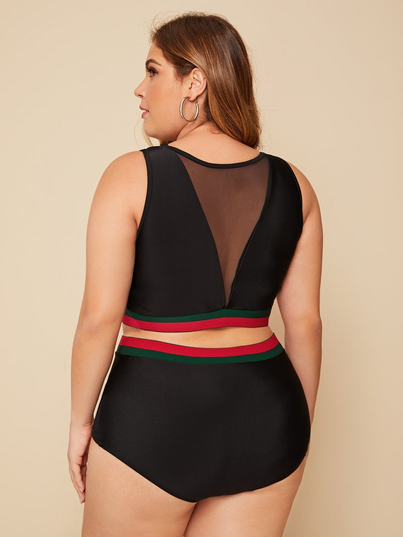 Plus Contrast Mesh Striped Hem 2piece Swim - FashionKila.com