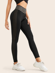 Mesh Panel Striped Wideband Waist Leggings-Shopvoypa