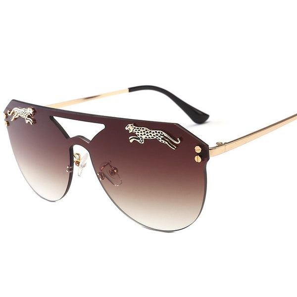 Rimless oversized cateye sunglasses - FashionKila.com