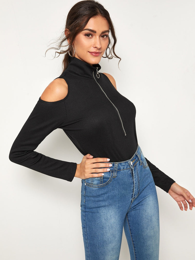 Zipper Cold Shoulder Stand Collar Tee - FashionKila.com