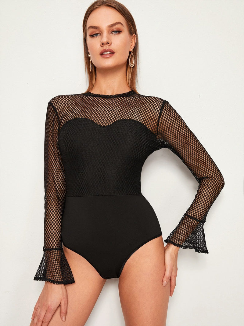 Flounce Sleeve Backless Sheer Bodysuit - FashionKila.com