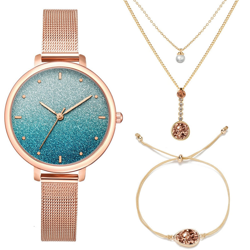 Stardust Watch Women Necklace Bracelet Set (3PCS/Set) - FashionKila.com
