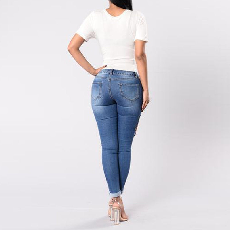 High waist pencil ripped floral Jeans - FashionKila.com
