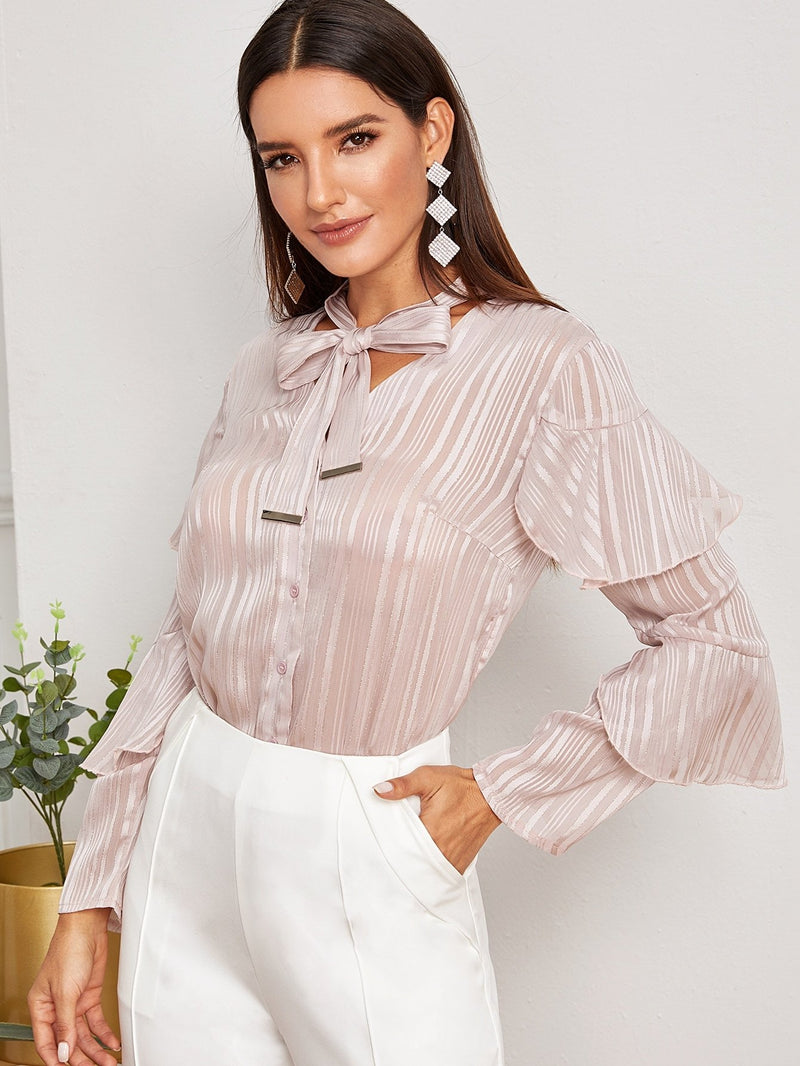Tie Neck Ruffle Sleeve Button Through Blouse - FashionKila.com