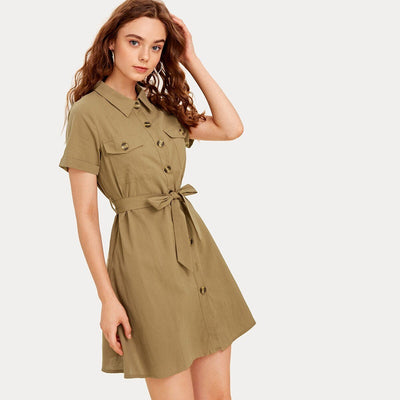 Button Front Self Tie Cargo Dress-Shopvoypa