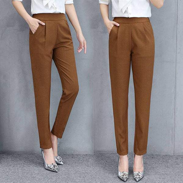 Ankle-length high waist trousers - FashionKila.com