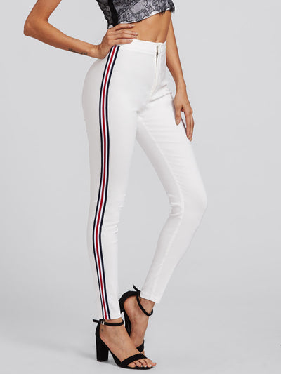 Contrast Tape White Skinny Jeans Leisure Button Fly Stretchy-Jeans-Shopvoypa