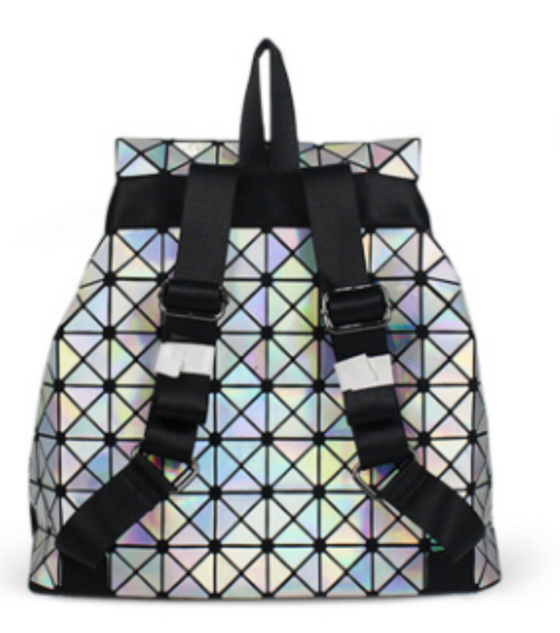 Geometric Lingge Women Laser backpack Luminous Flash Mens Travel Shoulder Bag Rucksack