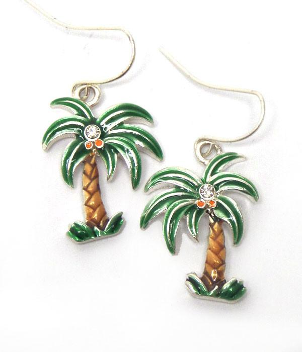 Palm Tree crystal earrings - FashionKila.com