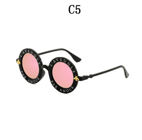 Retro English Letters Little Bee Round Sunglasses - FashionKila.com