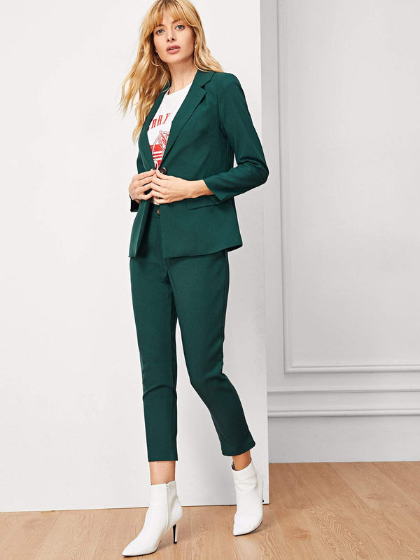 Solid Single Button Lapel Collar Blazer With Pants - FashionKila.com