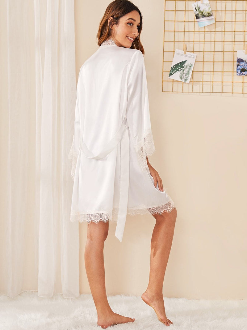 Eyelash Lace Satin Robe With Belt - FashionKila.com
