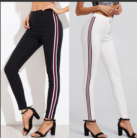 Contrast Tape White Skinny Jeans Leisure Button Fly Stretchy - FashionKila.com