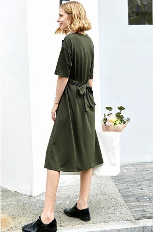 Minimalist casual spring short sleeve bel dress - FashionKila.com