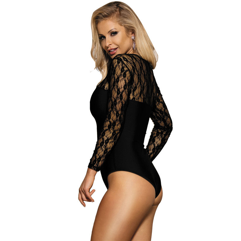 Long sleeve black lace bodysuit - FashionKila.com