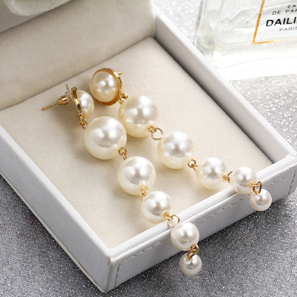 Pearl Long Earrings - FashionKila.com