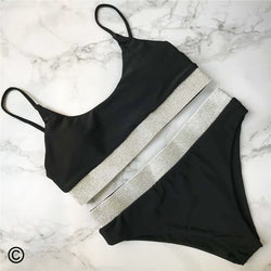Black white swimsuit bikini two-pieces set - FashionKila.com