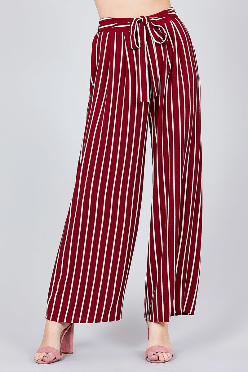 Stripe Print Waist Self Bow Tie Crepe Long Pants - FashionKila.com