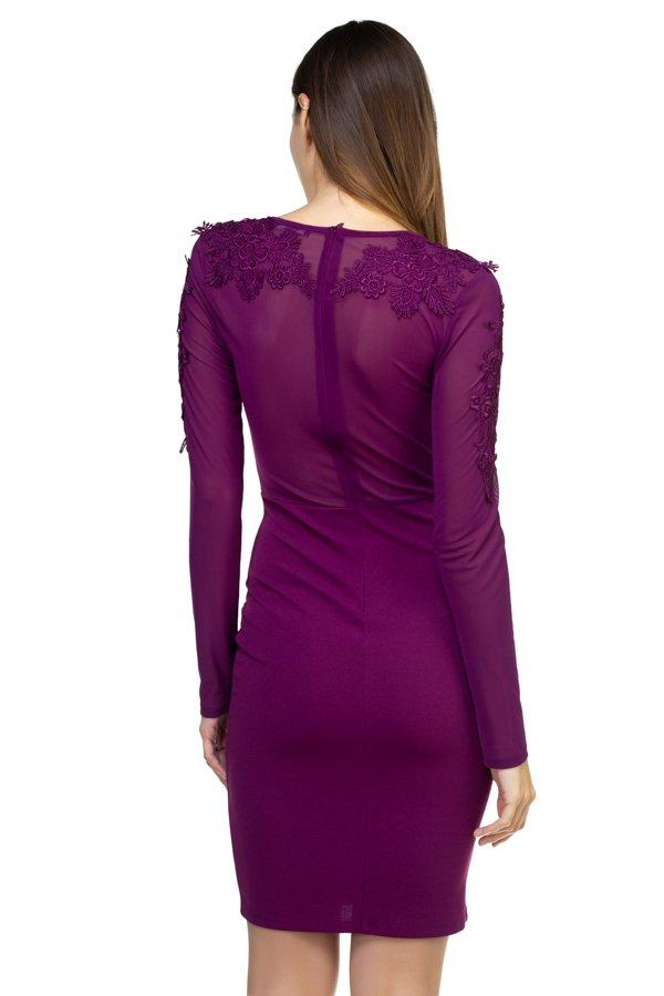 Long Sleeve Floral Mesh Dress - FashionKila.com