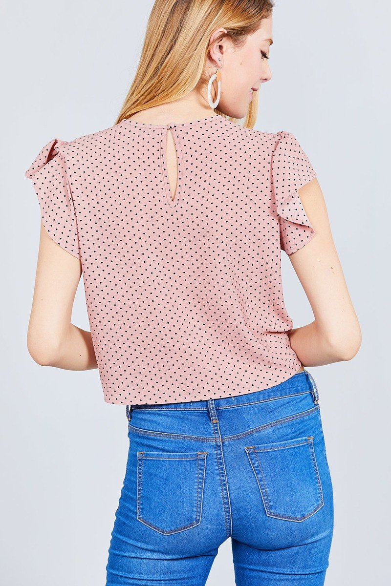 Ruffle Sleeve Round Neck Front Tie Dot Print Woven Top - FashionKila.com